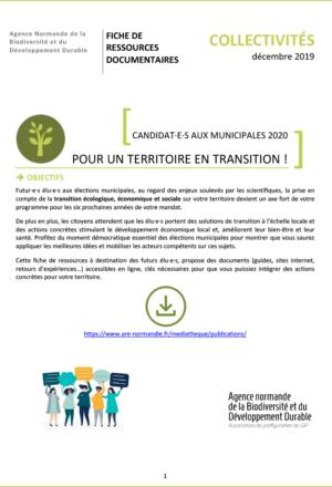 Candidats Aux Municipales 2020 Pour Un Territoire En Transition