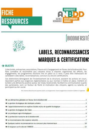 [Fiche-ressources] Labels, reconnaissances, marques et certifications #Biodiversité
