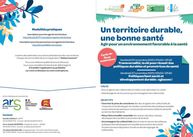 [Webinaires] Un territoire durable, une bonne santé – Agir pour un environnement favorable à la santé