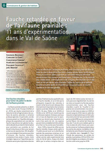 Fauche retardée en faveur de l'avifaune prairial : 11 ans d'expérimentation dans le Val de Saône