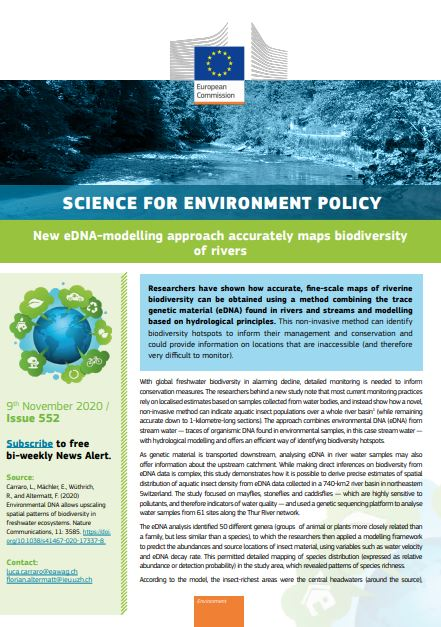 New eDNA-modelling approach accurately maps biodiversity of rivers