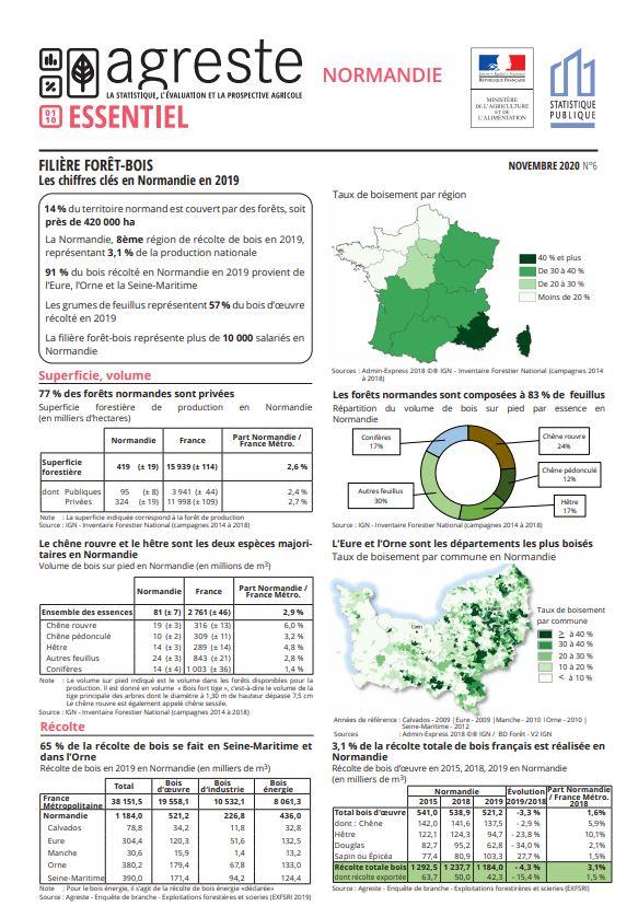 Filière forêt-bois. Les chiffres clés en Normandie en 2019