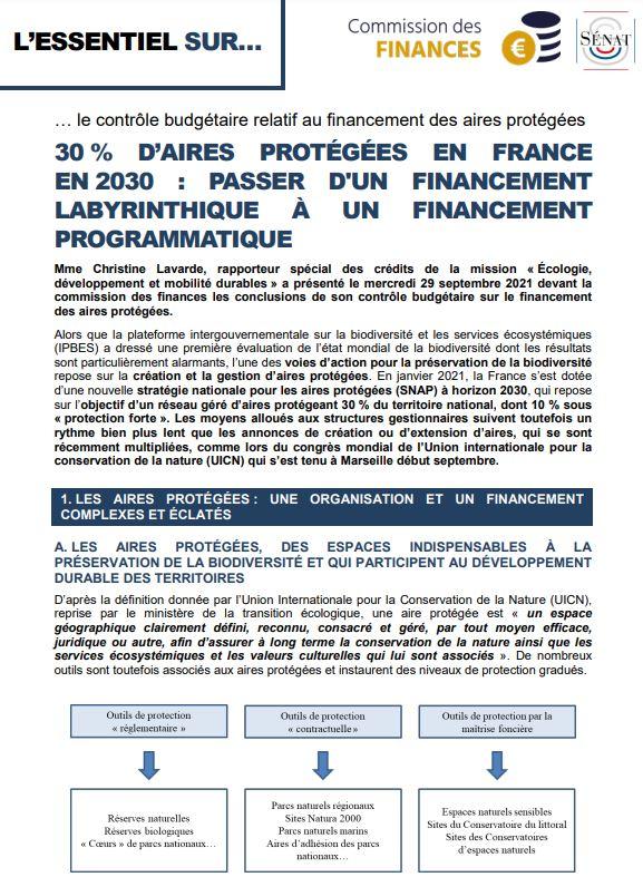 30 % d'aires protégées en France en 2030 : passer d'un financement labyrinthique à un financement programmatique
